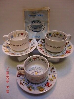 3 sets Zarka Fortune Telling Tea Cups w/booklet made in Japan International coll