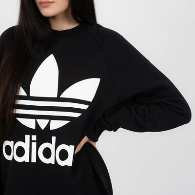 more photos e49fc 0ea7e FELPA DONNA ADIDAS ORIGINAL OVERSIZED SWEAT DH3129 nero-bianco