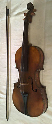 Antique Old Vintage Violin + Bow, Full 4/4, Boxwood Pegs, Playable