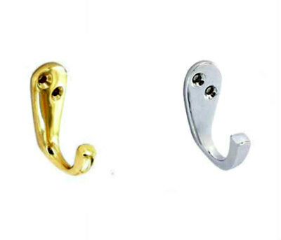Brass or Chrome Single Robe / Hat and Coat Hook - 50mm