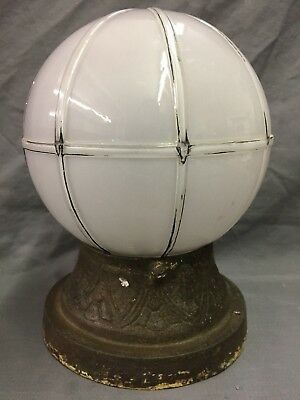 Antique Cast Iron Decorative Round Glass Globe Porch Light Fixture Vtg  68-19D