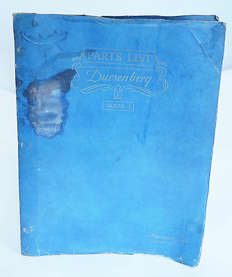 Rare Vintage Original 1929 Duesenberg Model J  Parts List