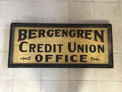 Bergengren Credit Union Double Sided Wood Antique Sign