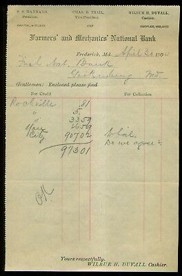 1904 Frederick,MD - Farmers' and Mechanics' National Bank Invoice