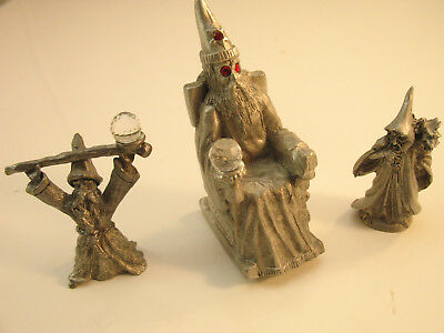 Lot 3 Vintage 1980's Spoontiques Pewter  Wizards & Dragons W/ Crystals