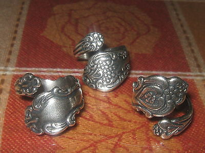 Lot Of 3 Vintage Antique Style Adjustable Silver Spoon Rings Sizes 6-10