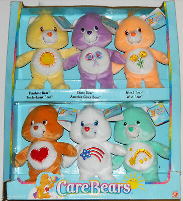 "Set of 6 Care Bears 8"" Plush Dolls Play Along 2003 Limited Edition Patriot Bear"