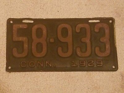 1929 Connecticut License Plate  number 58-933 displays nicely 29 CT