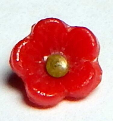 TINY ANTIQUE 19th CENTURY RICH RED GLASS REALISTIC FLOWER BUTTON w/BRASS SHANK