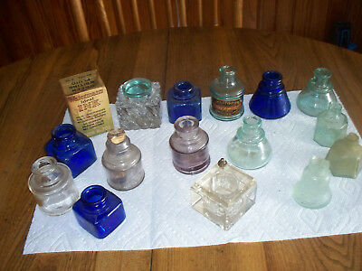 Vintage Lot Of Old  Ink Bottles  Ink Well,  Ink Bottle Box--Collector Lot