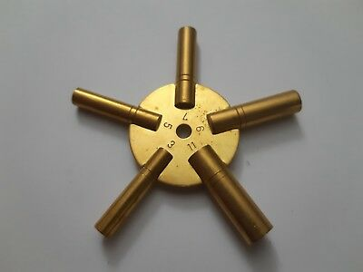 Brass Star Spider Clock Spring Winder Winding Keys Size 3,5,7,9,11