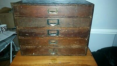 Solid 5 draw Antique Wooden  Tool/storage Box
