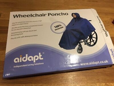 Wheelchair Waterproof Poncho/Raincover/Mobility Mac/Cape with Hood - New -Aidapt