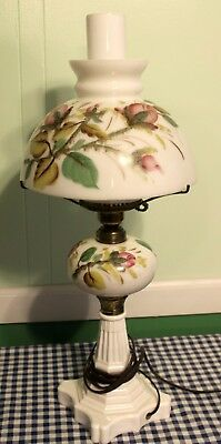 Heavy White Glass Hand Painted Table Lamp Fenton?