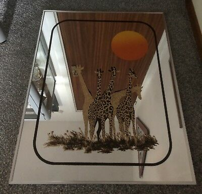Large Vintage Retro Giraffe Sun Design Wall Hanging Mirror Collect Glasgow
