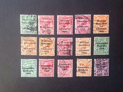 Ireland selection of 1922 overprints on Great Britain stamps.