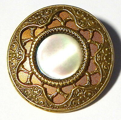 BEAUTIFUL ANTIQUE VICTORIAN GILT BRASS & MOTHER OF PEARL BUTTON w/PIERCED BORDER