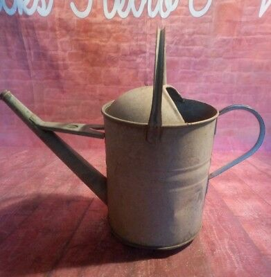 Vintage Old Metal Galvanised Watering Can Garden Display Planter 1.5 Gallon