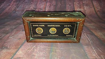 Antique Wooden 3 Window Servant Butler Bell Box Edwardian Dining Drawing Room