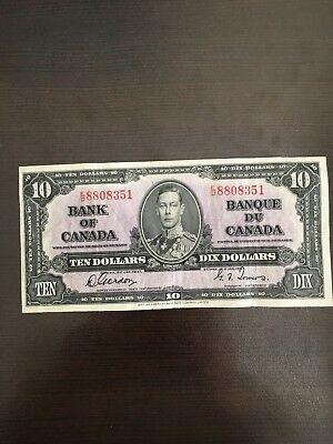 Bank of Canada 1937 $10 Ten Dollars Note Gordon-Towers Prefix E/D