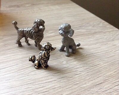 3 Vtg. Miniature Metal French Poodle Dog Figurines (1) Signed Rawcliffe Pewter