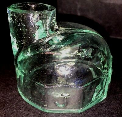 ANTIQUE J&IEM TURTLE INK BOTTLE-1870s-Light Aqua - Reduced