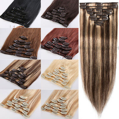 Natural 7PCS Remy Hair Clip In Real Human Hair Extensions US Best Highlight Weft