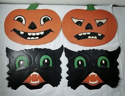 Vintage Luhrs Halloween Die Cut Embossed Decorations 2 JOL Pumpkins & 2 Cats