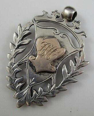 Watch Fob Handmade Vintage Sterling Silver Victorian Gold Shield 13.8 Grams
