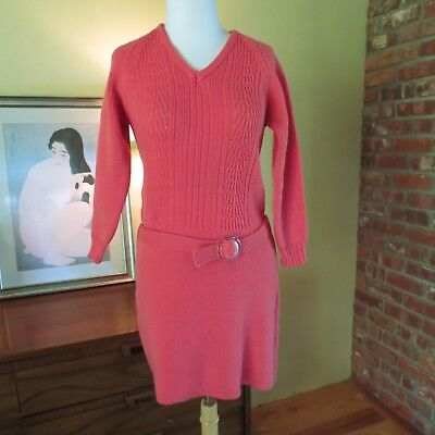 Vtg 60s Hand Knit Fit Flare Mod Scooter Mini Dress O Ring Belt Pink XS orTeen