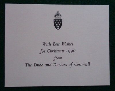 Antique Christmas Card Present from Prince Charles 1990 Duke Duchess Cornwall