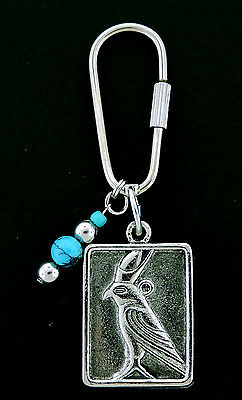 Horus in Bird Form  -   Key Chain with Blue Crystals  Silver Tone