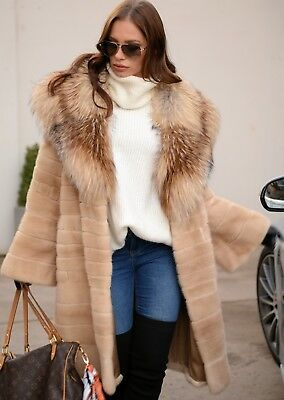 New 2019 Champagne Royal Mink Fur Coat Fox Class Of Sable Chinchilla Long Jacket