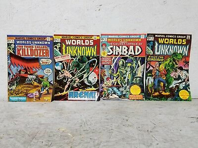 Vintage Lot of (4) Marvel Comics Worlds Unknown Comic Books