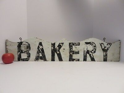 "Old Hand Made & Painted Wooden ""bakery"" Sign In Worn Old Paint, Nr"