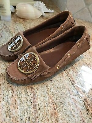 "ec856e0cca59 Tory Burch ""Alexandra"" Brown Fringe Suede Leater Moccasins Size 6 1 2"