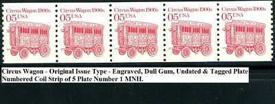 Circus Wagon Engraved Undated Dull Gum Tagged PNC5 PL 1 MNH Scott's 2452 (s