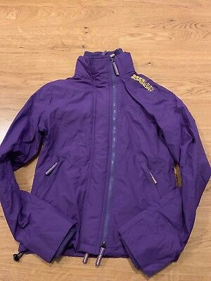Small Ladies Superdry The Windcheater Jacket Coat in Purple Triple Zip / 99p !!!