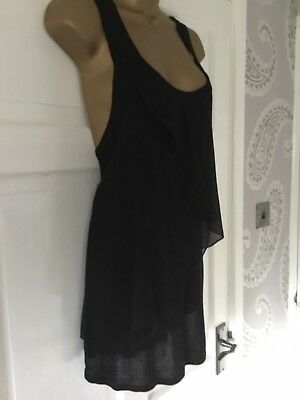 Miss Selfridge Loose Style Frill Front Long Length Vest Top Sz 12