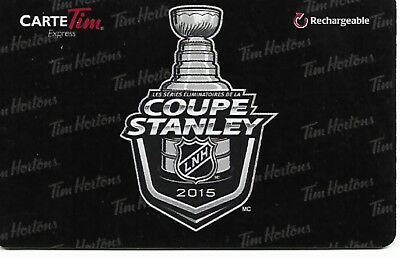 Tim Hortons Nhl Hockey Stanley Cup 2015 French  Gift Card Rechargeable