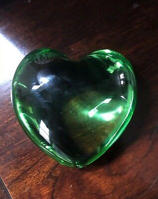"""Baccarat France Green crystal puffed heart paperweight 3"""" -1 pound"""