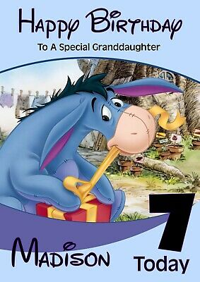 personalised birthday card Winnie the Pooh Eeyore any name/age/relation.