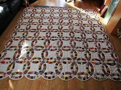 """Beautiful Handmade Wedding Ring Quilt 98"""" By 98""""- Nice Pattern-Large"""