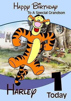 personalised birthday card Winnie the Pooh Tigger any name/age/relation.