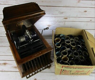 Edison Phonograph Antique 45+ Edison Blue Amberol Cylinders AS IS