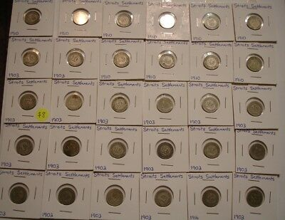 (30) pieces 1903 & 1910 Silver Ten Cents 10¢ of Malaysia / Straits Settlement