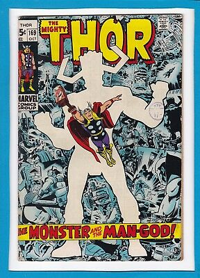 """Mighty Thor #169_October 1969_Fine+_Galactus Origin_""""the Monster & The Man-God""""!"""