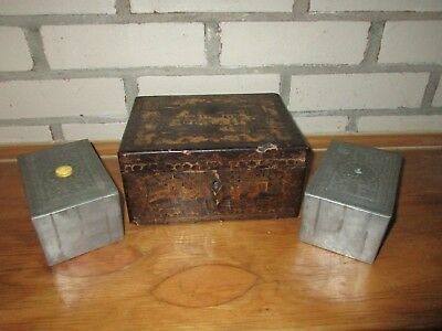 Antique 19th C Chinese Canton Gilded Hand Painted Tea Caddy w/ Pewter Inserts