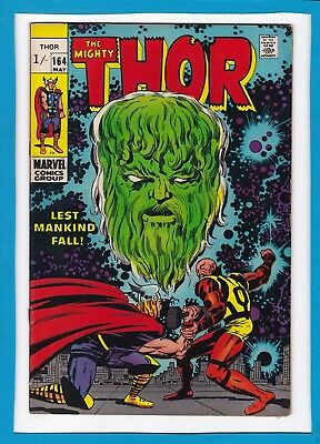 """Mighty Thor #164_May 1969_Vg_Ego_""""lest Mankind Fall""""_Double Cover_Silver Age Uk!"""