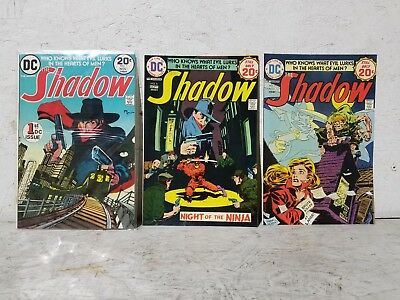 """Vintage Lot of (3) 1970's DC Comics """"The Shadow"""" Comic Books with #1"""